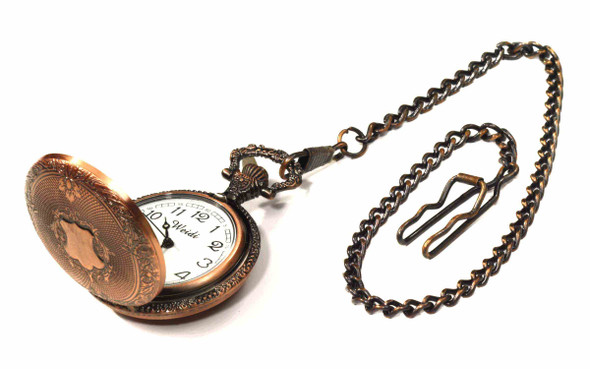 Steampunk Copper Pocket Watch Industrial Victorian Costume Accessory Adult New
