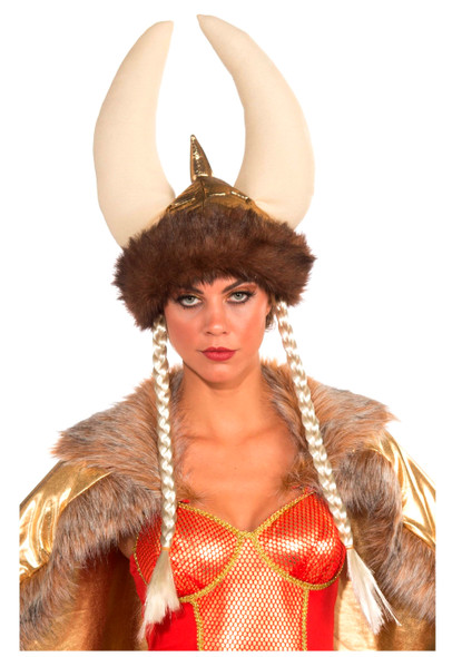 Deluxe Gold Viking Warrior Helmet Hat with Braids Costume Accessory Adult Womens
