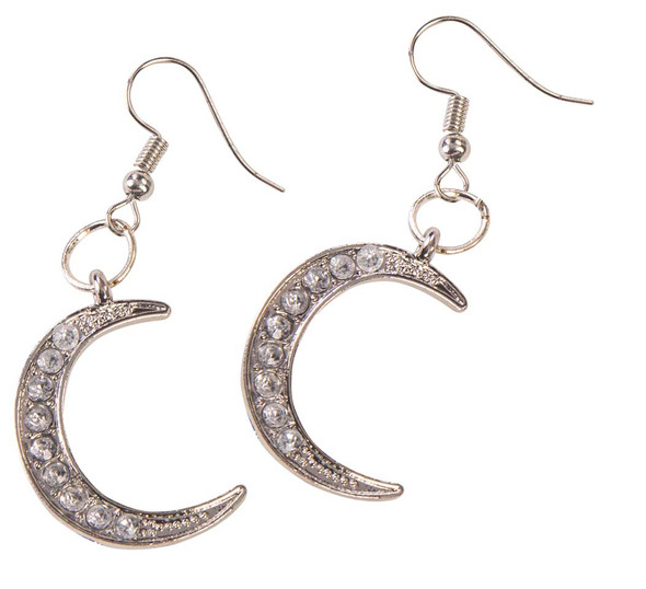 Celestial Moon Earrings Rhinestones Long Dangle Costume Jewelry