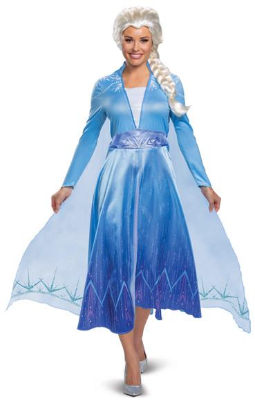 Disney Frozen II Elsa Deluxe Adult Women's Costume Blue Dress Licensed SM-XL