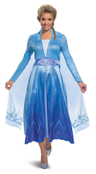 Disney Frozen II Elsa Deluxe Adult Women's Costume Blue Dress Licensed SM-XL