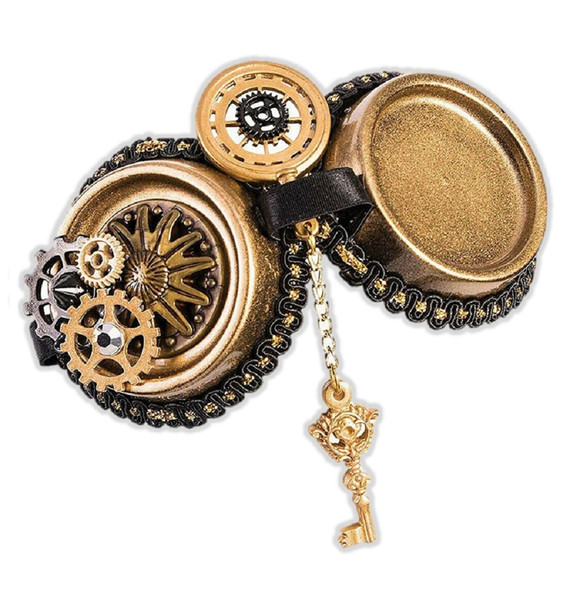 Women's Industrial Steampunk Goggles Style Hair Clip Costume Accessory Gears Key