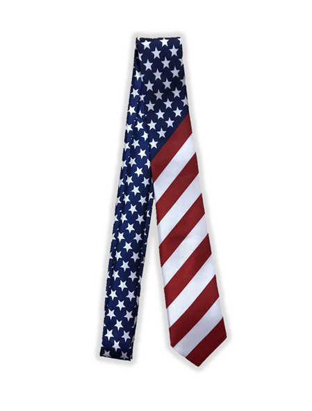 USA Patriotic Long Neck Tie Men's 4th of July Stars N' Stripes Costume Accessory