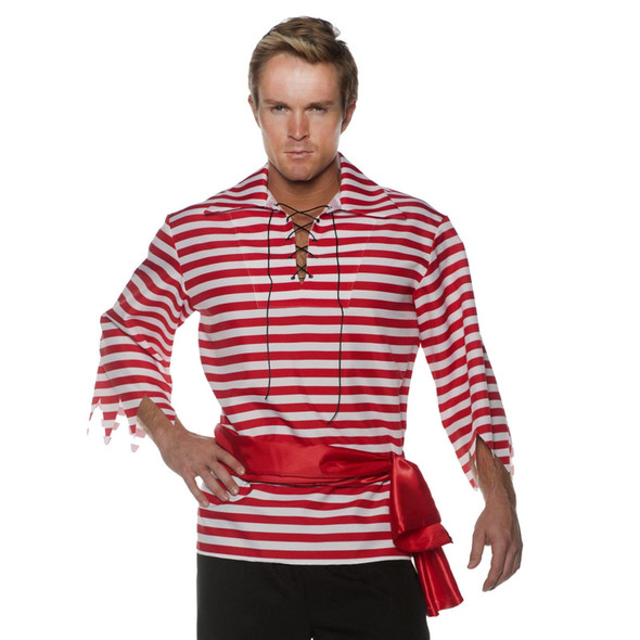 Striped Carribean Pirate Shirt White & Red Adult Men's Costume Accessory XXL