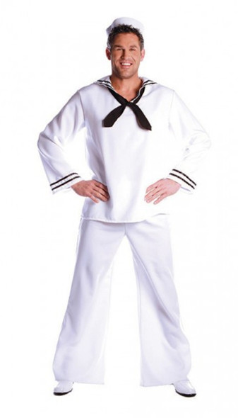 Sailor In The Navy Man In Uniform Marine Adult Men's Costume Standard Size White