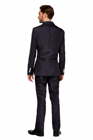 Suitmeister Halloween Pinstripe Gangster Costume Suit Adult Men's Black N' White