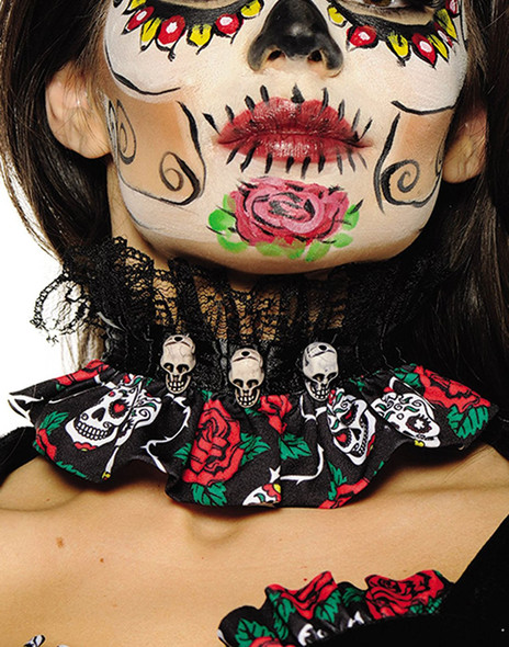 Day of The Dead Black Lace Choker DOD Sugar Skull Gothic Costume Accessory