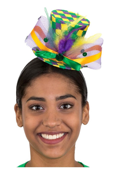 Mardi Gras Mini Top Hat Headband Checkered Print Ribbons Festival Prop