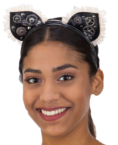 Black Steampunk Cat Ears Headband Victorian Adult Gears Lace Costume Accessory
