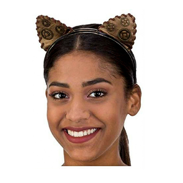Brown & Gold Steampunk Cat Ears Headband Victorian Adult Gears Costume Accessory