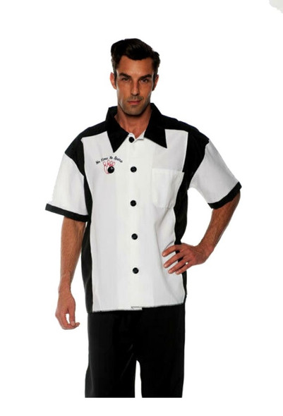 Nifty 1950s 50s Retro White Bowling Shirt Men's Adult Athletic Top STD-XL