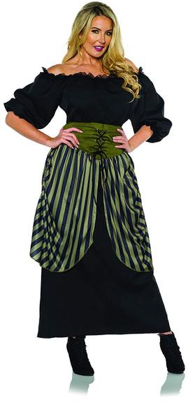 Renaissance Costume Fancy Dress Sea Pirate Peasant Adult Women's Black SM-XL