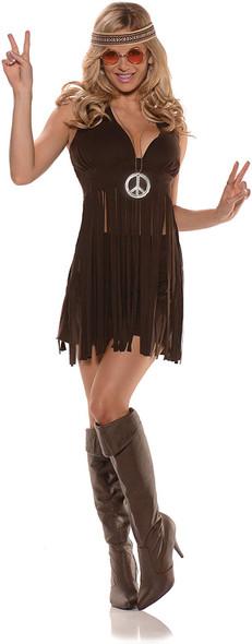 Sunshine 70s Brown Fringed Halter Top Mini Skirt Halloween Costume Hippie Womens