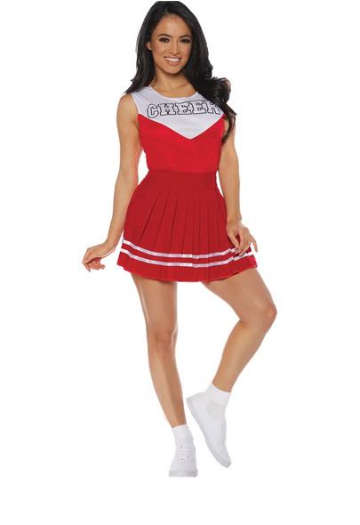 Red Cheerleader Adult Women's Costume Top & Skirt School Spirit Cheer SM-XL