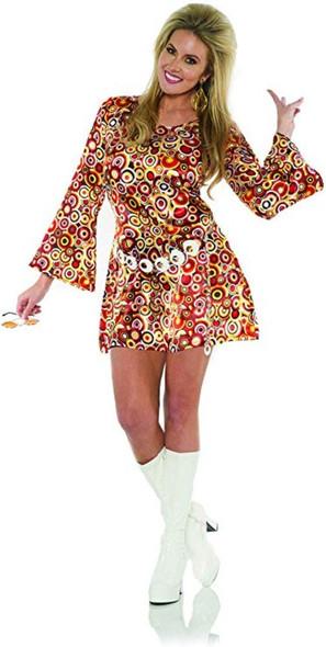 1970's Disco Circle Print Mini Fancy Dress Costume Go Go Diva Womens XS-XL