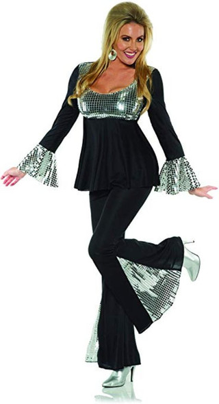 1970's Disco Diva Costume Outfit Go Go Fancy Dress Black n' Silver Womens XS-XL