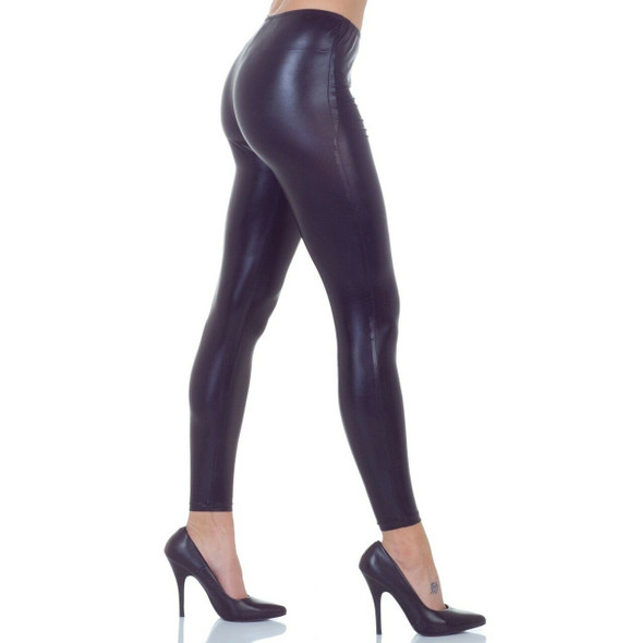 Shiny Metallic Shiny Black Stretch Leggings Adult Women's Rockabilly XS-LG