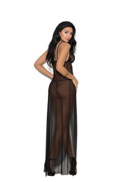 Elegant Moments Long Black Mesh Gown With Lace Adult Women's Lingerie SM-LG