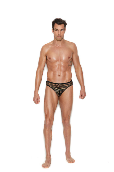 Elegant Moments Men's Sexy Black Fishnet Thong Back Brief Underwear See Through