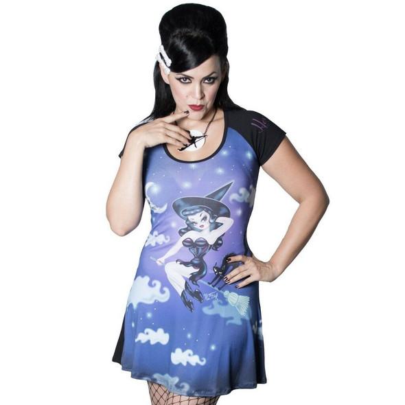 Kreepsville 666 Hex Kitten Witch Flare Dress By Miss Fluff Fashion Women's SM-LG