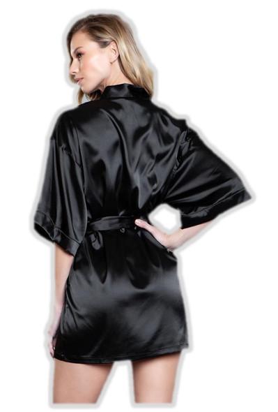 Be Wicked Sexy Black Satin Short Robe Pockets Womens Lingerie Kimono Small 4-6