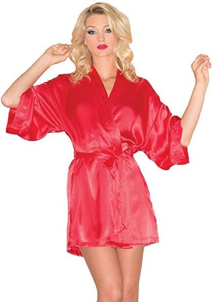 Be Wicked Sexy Red Satin Short Robe Pockets Womens Lingerie Kimono Medium  8-10