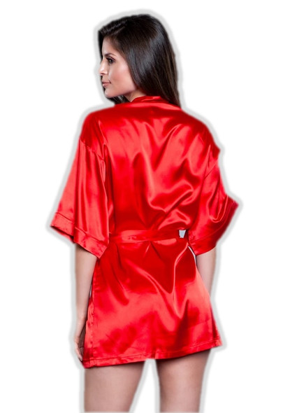 Be Wicked Sexy Red Satin Short Robe Pockets Womens Lingerie Kimono Medium  8-10