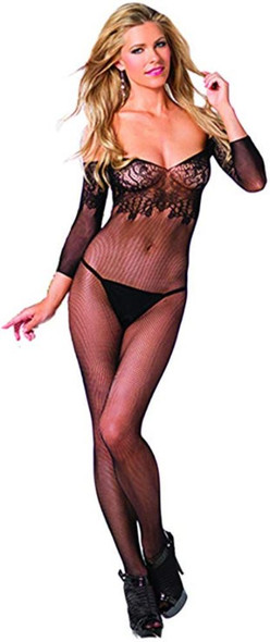 Be Wicked Sexy Floral Black Lace Bodystocking Lingerie Ladies Women's One Size