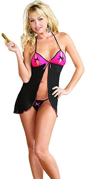 Dreamgirl Sexy Black n' Pink Babydoll Set Thong Women's Lingerie One Size