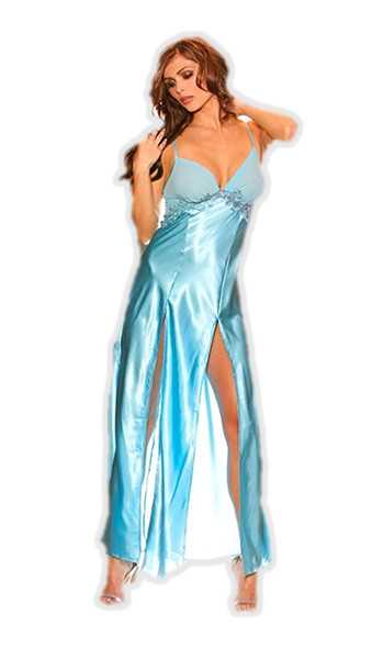 Elegant Moments Sexy Blue Satin Long Gown Lingerie Robe Ladies Womens Smalll