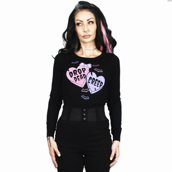 Creepy Candy Hearts Fitted Pullover Black Sweater Women's Goth Rockabilly SM-XL