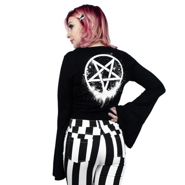 Too Fast Bloody Hell Pentagram Knit Bell Sleeve Kimono Cardigan Women's Sweater