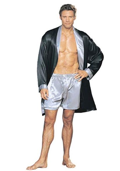 Dreamgirl Two-Tone Charmeuse Robe Lingerie Black n' Silver Unisex Mens Womens OS