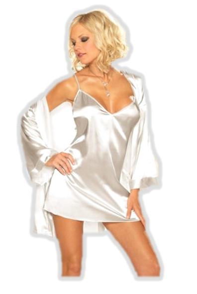 Dreamgirl White Shalimar Charmeuse Chemise & Robe Kimono Lingerie Set Small