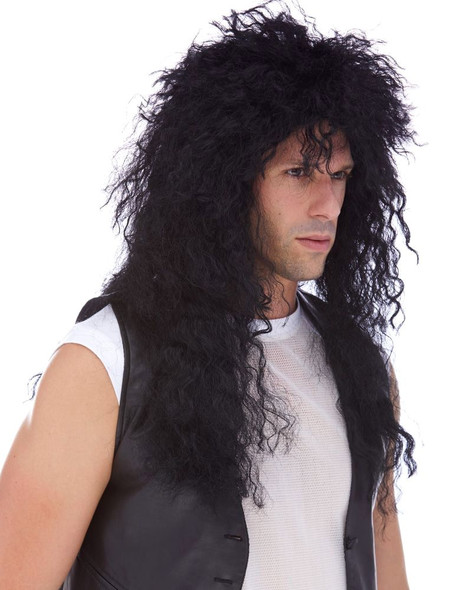 Quality Heavy Metal 80's Hair Bands Black Curly Adult Costume Wig Rock Star