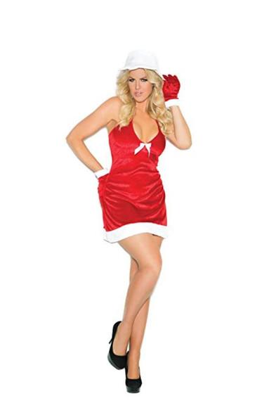 Santa's Honey Costume Women's Red Velveteen Christmas Halter Dress SM-LG