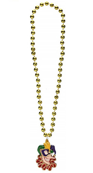 Mardi Gras Jester Style Gold Beaded Necklace Novelty Costume Accessory Jewelry