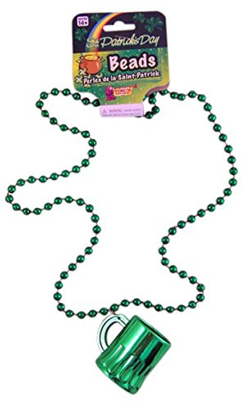 St. Patrick's Day Green Bead Necklace w Mini Shot Beer Mug Costume Accessory