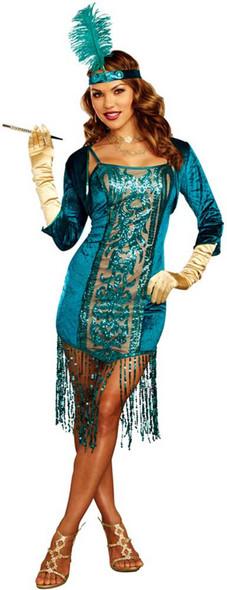Dreamgirl High Society Teal Sequin Dress Gatsby Flapper Women's Costume SM-XL