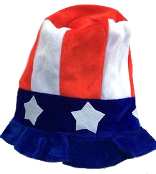 Uncle Sam Red White Blue USA Flag Hat Stars Striped Adult 4th of July Patriotic