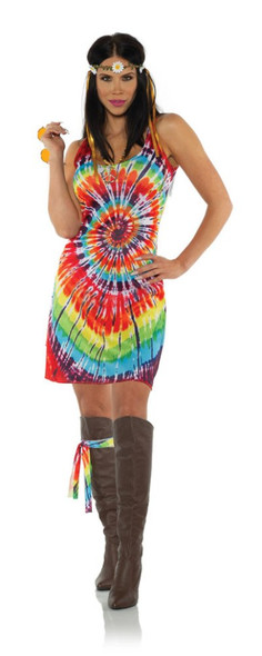 1960's Tie Dye Tank Top Mini Dress Halloween Costume Groovy Hippie Womens XS-XL