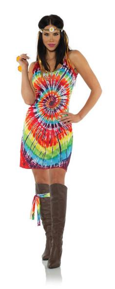 1960's Tie Dye Tank Top Mini Dress Halloween Costume Groovy Hippie Womens XS-XL