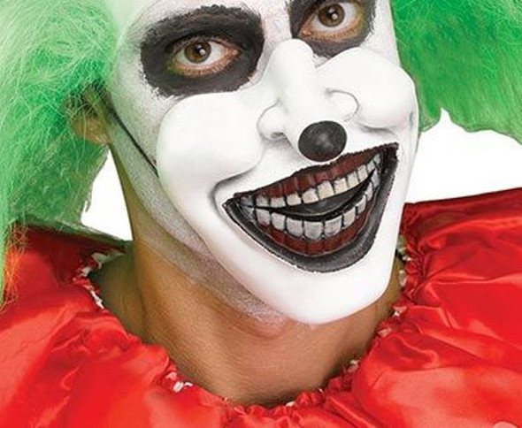 Creepy Evil Clown Half Mask Mouth Piece Vinyl Latex White Scary Black Nose
