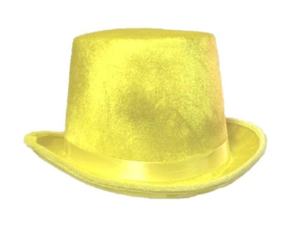Bright Neon Yellow Adult Top Hat Halloween 80s Retro Costume Accessory New