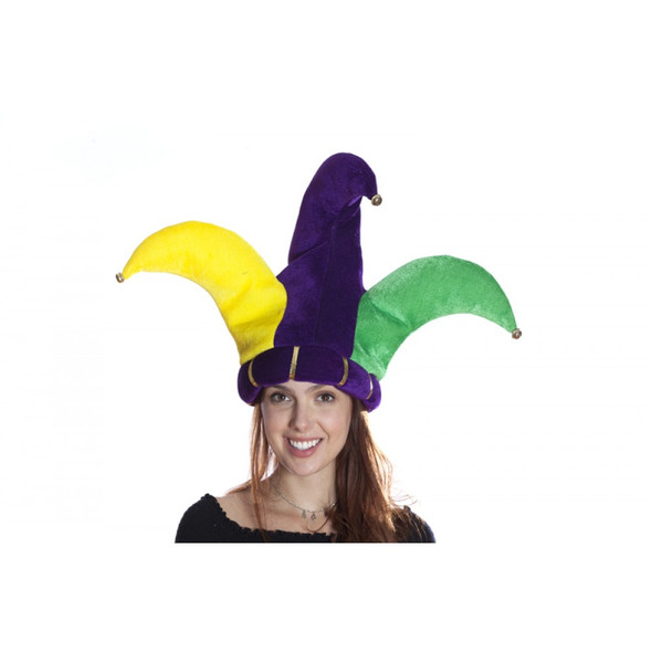 Mardi Gras Jester Hat Velvety Purple Yellow Green Stuffed Peaks Adult Party Hat