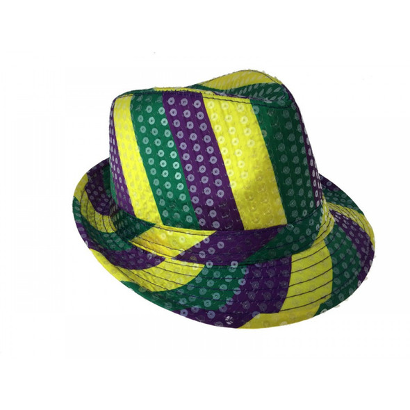 Mardi Gras Sequined Fedora Hat Purple Gold
