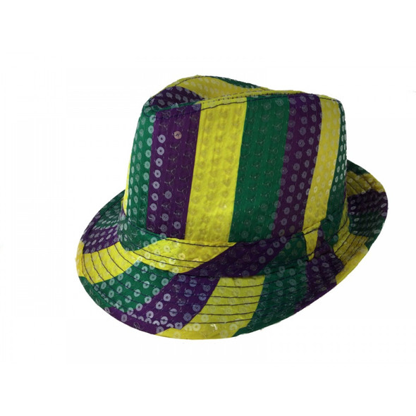 Mardi Gras Sequined Fedora Hat Purple Gold Green Adult Party Costume Accessory