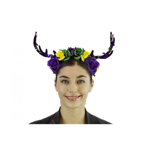 Mardi Gras Deer Antlers LIGHTS-UP Floral Headband Creature Animal Fat Tuesday