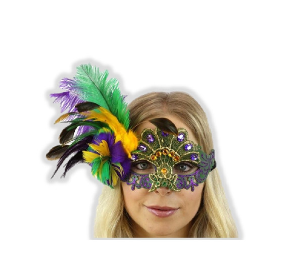 Mardi Gras Venetian Half Mask Feathers Gems Masquerade Costume Accessory