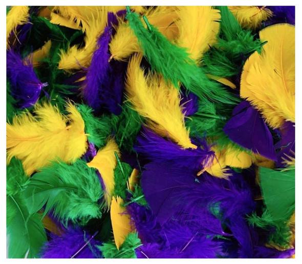 "Mardi Gras A+++ Quality Turkey Plummage 3-5"" Feathers Purple Green Yellow"